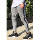 Men's New Stylish Plaid Pattern Tape Side Drawstring Waist Grey Casual Skinny Pencil Pants