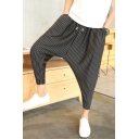 Men's Trendy Stripe Printed Drop-Crotch Drawstring Waist Cropped Harem Pants