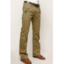 Men's Simple Fashion Solid Color Button Embellished Casual Cotton Dress Pants