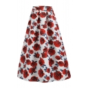 Womens Vintage Red Rose Floral Printed Maxi Flared Swing Skirt