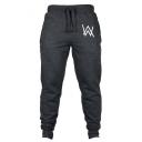 Men's Popular Fashion Letter W Logo Printed Drawstring Waist Cotton Joggers Sweatpants