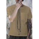 Mens Simple Solid Color Single Pocket Front Round Neck Short Sleeve Casual Tee