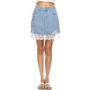 Summer Girls Hot Fashion High Waist Floral-Embroidered Ripper Detail Sheer Mesh Patched Hem Mini Denim Skirt