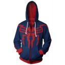New Trendy Cosplay Costume Spider Man Printed Long Sleeve Zip Up Blue Hoodie