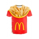 Cool 3D French Fries Print Short Sleeve Regular Fit T-Shirt