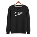 Simple Letter Logo PF'EOSION Print Round Neck Long Sleeve Regular Fitted Cotton Sweatshirt