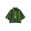 Summer Girls Popular Green Chic Flower Embellished Button Cotton Loose Crop Shirt