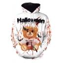Popular Halloween Blood Teddy Bear Pattern Long Sleeve White Unisex Hoodie