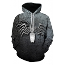 Hot Fashion Spider Pattern Grey Regular Fit Long Sleeve Pullover Hoodie