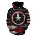 Red Flag Star Shield 3D Printed Long Sleeve Regular Fit Pullover Unisex Hoodie