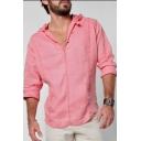 Mens Unique Simple Plain V-Neck Long Sleeve Hooded Casual Linen Shirt Blouse