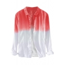 Summer Mens Trendy Ombre Color Long Sleeve Casual Loose Button Shirt