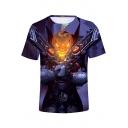Funny Purple Comic Pumpkin Figure 3D Pattern Short Sleeve Fitted T-Shirt