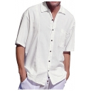 Guys Hot Popular Plain Short Sleeve One Pocket Loose Fit Linen Shirt