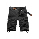 Men's Summer New Fashion Solid Color Multi-pocket Design Ribbon Embellished Zip-fly Cargo Shorts