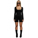 Women's Hot Fashion Simple Plain Sexy Scoop Neck Long Sleeve Bodycon Romper