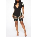 Womens Hot Stylish Summer Mesh Patch Zipper V-Neck Contrast Piping Playsuit Romper