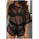 Women Sexy Fashion Simple Plain Fishnet Hollow Out Mesh Off Shoulder Short Sleeve Drawstring-Waist Nightclub Romper