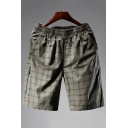 Men's Summer Trendy Plaid Pattern Zipped Pocket Side Elastic Waist Casual Cotton Shorts