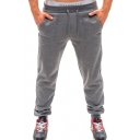 Popular Fashion Simple Plain Utility Pockets Drawstring Waist Casual Relaxed Sweatpants for Men