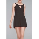 Hot Fashion Simple Plain Round Neck Sleeveless Sexy Cut Out Front Lace-Trimmed Romper for Women