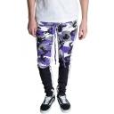 Men's Cool Fashion Camouflage Patched Drawstring Waist Slim Fit Casual Cotton Sweatpants Pencil Pants