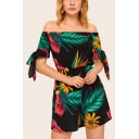 Womens Trendy Black Off Shoulder Tied Sleeve Leaf Print Chiffon Beach Romper