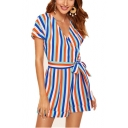 Womens Trendy Blue Vertical Print Surplice V-Neck Short Sleeeve Tied Romper