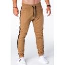 Men's Popular Fashion Stripe Side Drawstring Waist Elastic Cuffs Casual Slim Fit Sports Pencil Pants