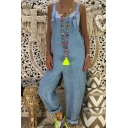 Womens Stylish Blue Straps Pocket Back Casual Loose Plain Overall Jumpsuits