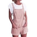 Trendy Simple Plain Pocket Detail Straight Leg Loose Overall Romper Shorts for Girls