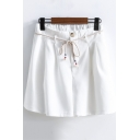 Womens Summer Fashion Tied Waist Simple Plain Cotton Culottes Shorts