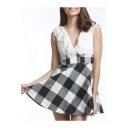 Womens Fashion Ruffled V-Neck Sleeveless Plaid Print Mini A-Line Dress