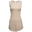 New Stylish Plain Round Neck Button Hollow Out Back Sleeveless Casual Romper