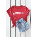 New Trendy Simple Letter MAMACITA Print Basic Short Sleeve Tee