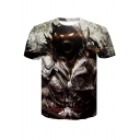 Cool 3D Figure Pattern Basic Round Neck Short Sleeve Tee