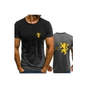 Summer Fashion House Lannister Lion Logo Print Short Sleeve T-Shirt