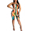 New Fashion Tie Dye Strapless Sleeveless Open Back Skinny Fitted Rompers