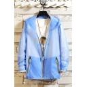 Mens Summer Stylish Plain UV Protection Long Sleeve Zip Up Hooded Fishing Skin Jacket Coat