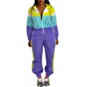 Womens Cool Street Style Lapel Collar Zipper -Front Colorblock Elastic High Waist Long Sleeve Hooded Jumpsuits Playsuit