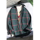 Guys Classic Fashion Check Print Long Sleeve Button Front Loose Over Shirt