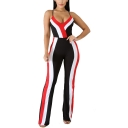 Women's Summer Hot Fashion Color Block V Neck Spaghetti Strap Sleeveless Fitted Jumpsuits