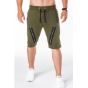 Men's Summer Trendy Simple Plain Zip Embellished Drawstring Waist Casual Cotton Sweat Shorts