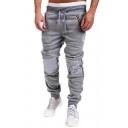 Men's Hot Fashion Solid Color Knee Patched Zipped Pocket Sports Pencil Pants