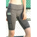 Womens Hot Popular Pocket Side Quick Dry Running Fitness Skinny Half Shorts
