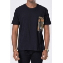 Guys Unique Cool Camo Zipper Pocket Patched Round Neck Short Sleeve Black Casual Tee