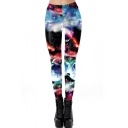 New Stylish Elastic Waist Galaxy Print Skinny Stretch Pants Leggings for Women