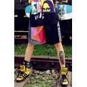 Cool Girls Street Hip Hop Style Letter Figure Print Sport Loose Straight Fit Shorts