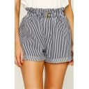 Womens Trendy Black and White Pinstriped Print Rolled Cuff Fitted Shorts