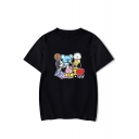 Funny Cartoon Character Pattern Basic Round Neck Short Sleeve Casual Tee